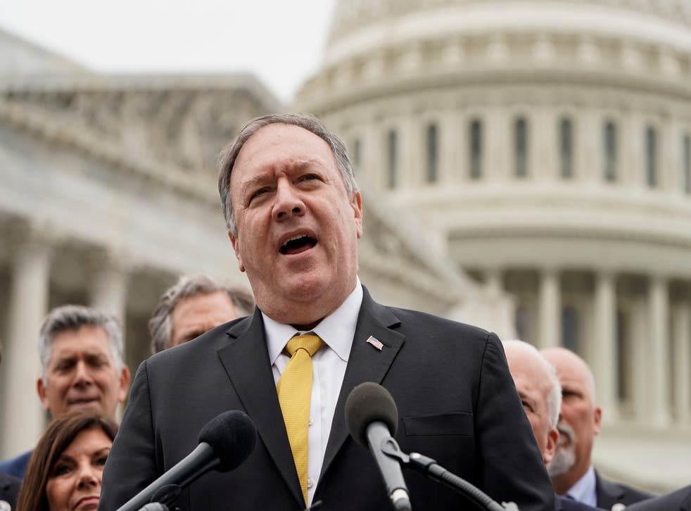 <p>File image: Former Secretary of State Mike Pompeo speaks to the media with members of the Republican Study Committee about Iran on 21 April, 2021 in Washington, DC</p>