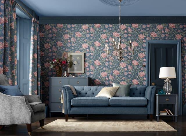 Laura Ashley Tapestry Floral Wallpaper - Dark Sea Spray, Next