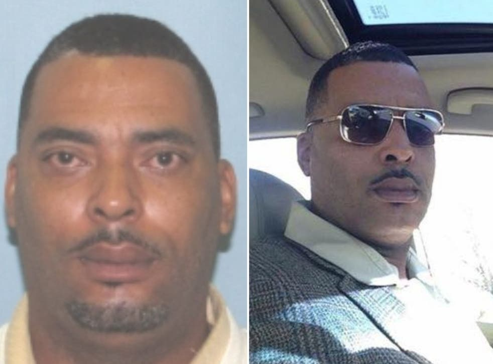<p>[Left] Pugh in the original mugshot and [right] the photo Pugh sent to police.</p>