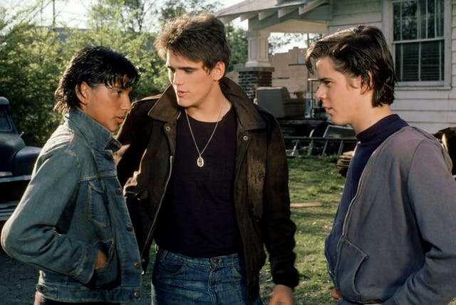 <p>Future stars: Ralph Macchio, Matt Dillon and C Thomas Howell in <em>The Outsiders</em></p>