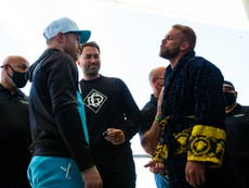 Saul 'Canelo' Alvarez and Billy Joe Saunders separated in heated face-off before showdown