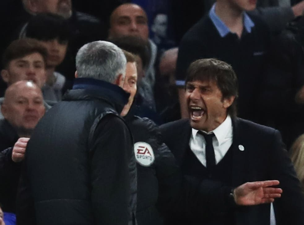 Antonio Conte (right) and Jose Mourinho during their time in England