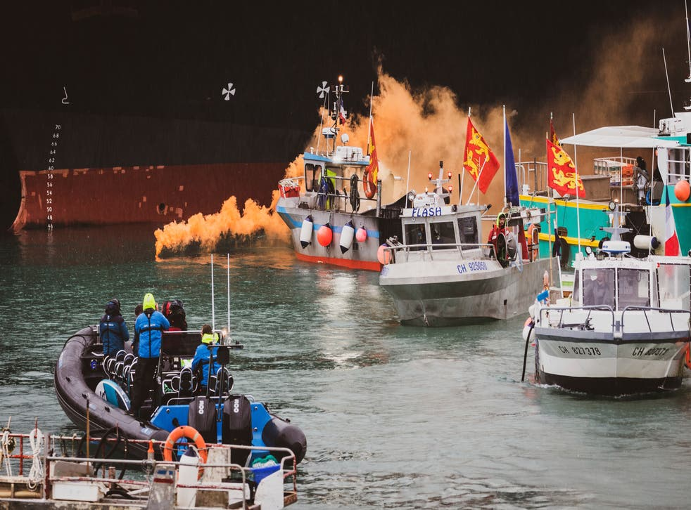 <p>Fishing vessels at sea off the coast of Jersey on Thursday</p>