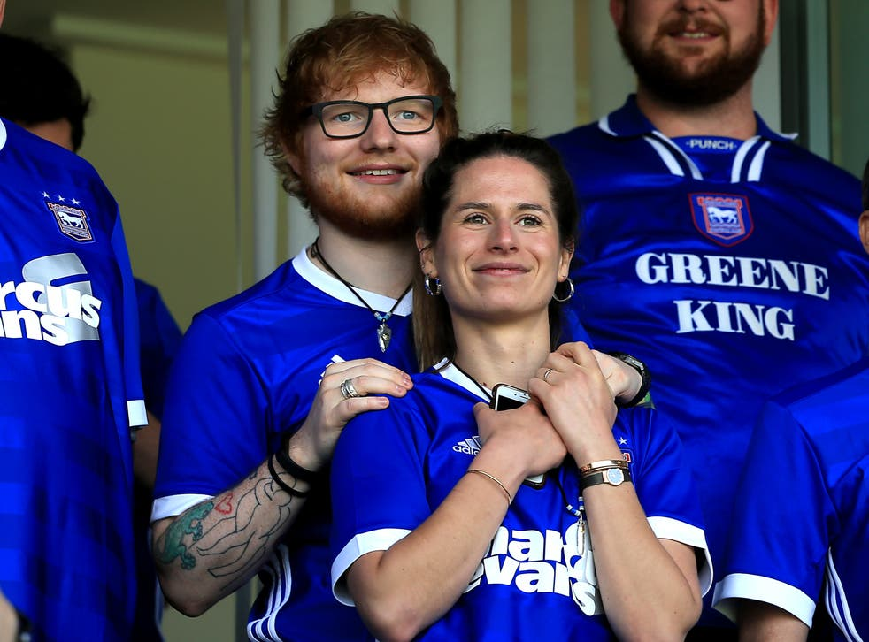 <p>Ed Sheeran at an Ipswich Town football match at Portman Road back in 2018 with wife, Cherry Seaborn.</p>