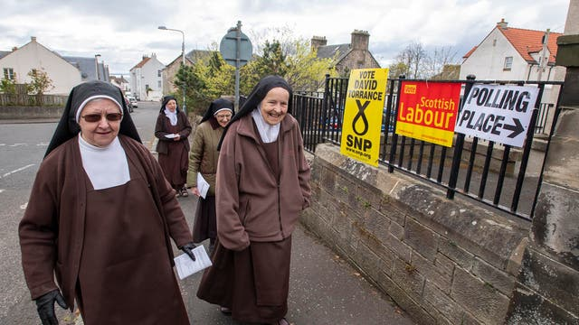 A group of five Sisters from Carmelite Monastery in Dysart cast their vote in the Scottish Parliamentary election at Dysart Community Hall, West Port, Dysart