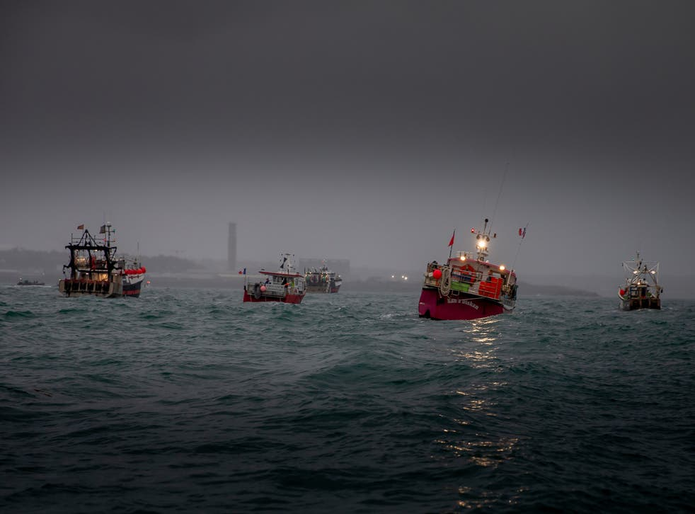 <p>French fishing vessels stage a protest at St Helier</p>