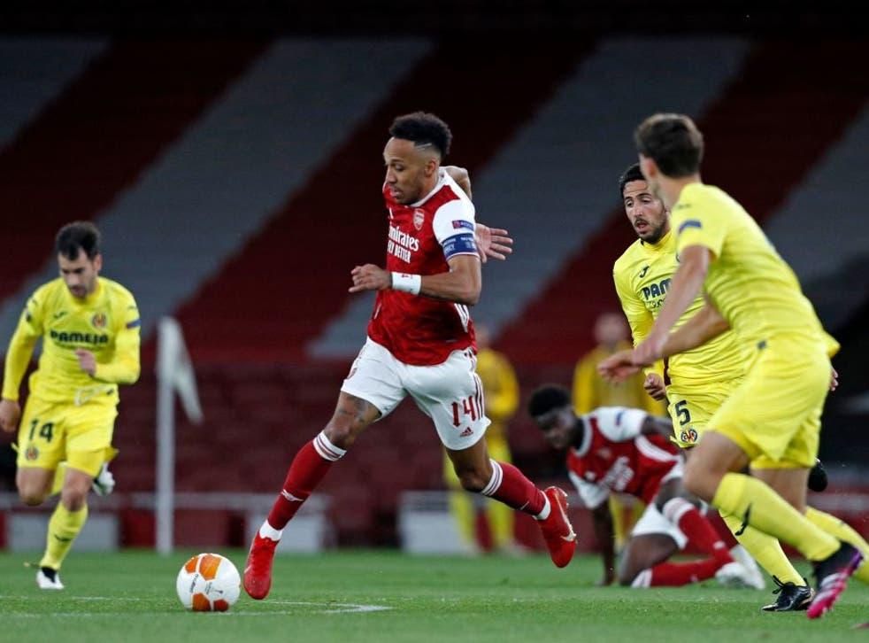 <p>Pierre-Emerick Aubameyang in action against Villarreal</p>