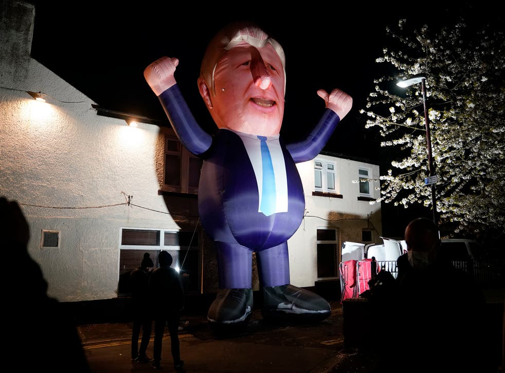 <p>An inflatable Boris Johnson outside Mill House Leisure Centre in Hartlepool</p>