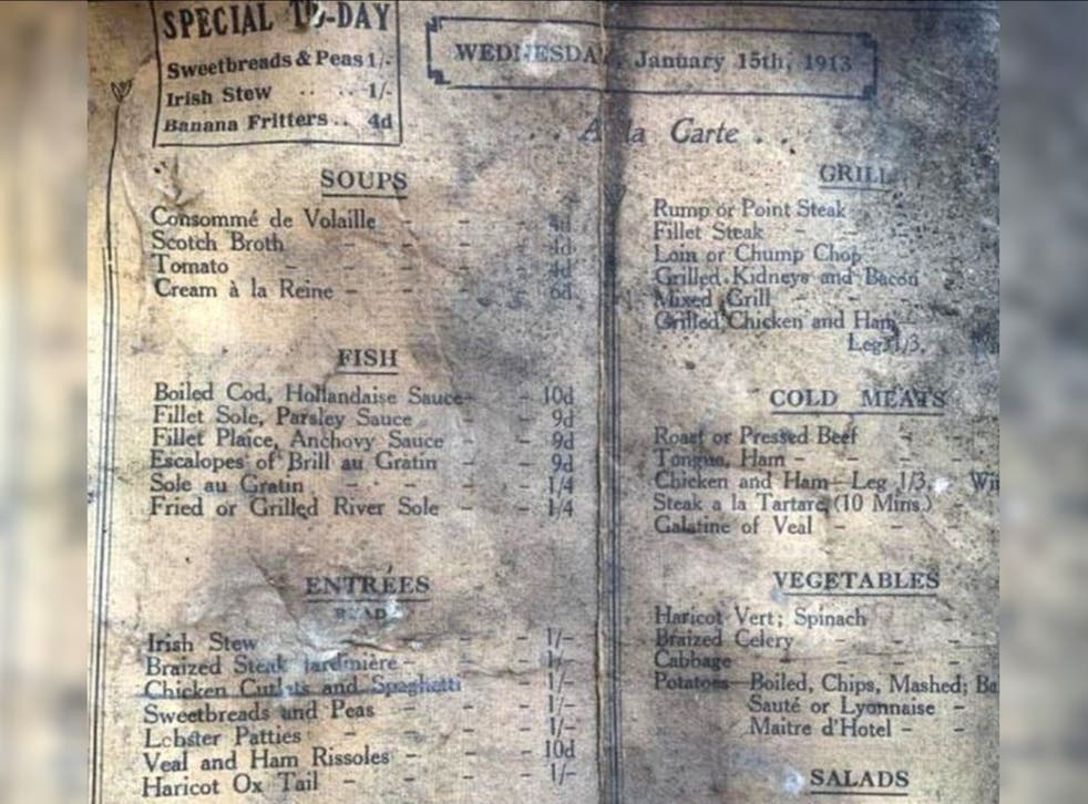 <p>The menu featured everything from sweatbreads and peas to lobster salad</p>