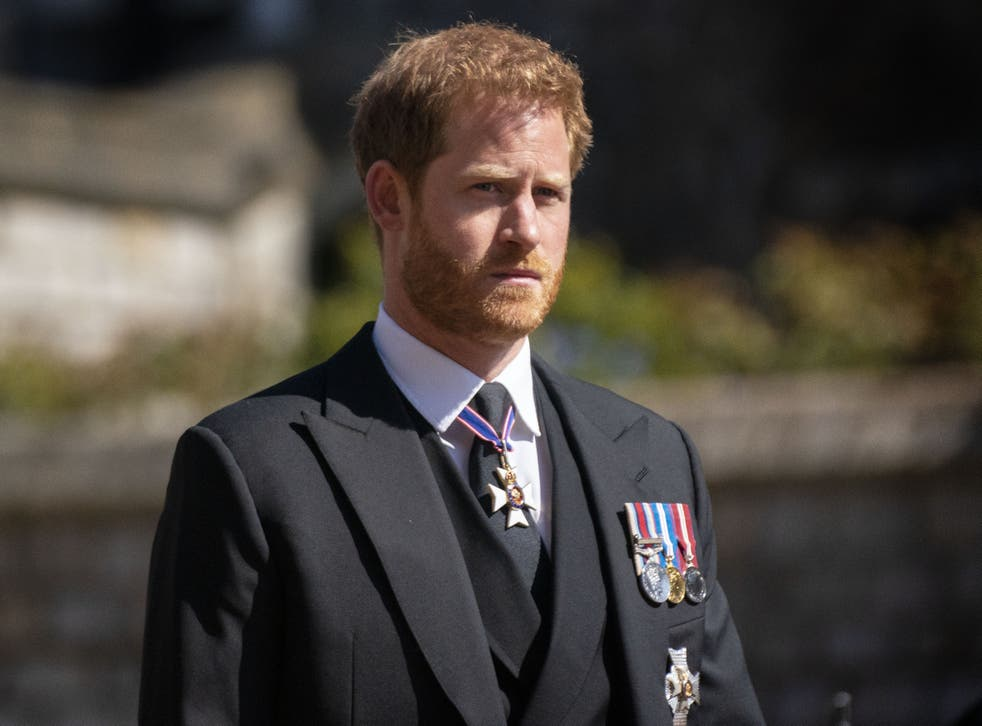 Prince Harry during the funeral of the Duke of Edinburgh
