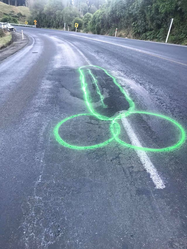 <p>Geoff Upson faces legal action for drawing penises around potholes in Auckland.</p>