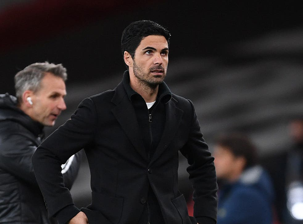 Arsenal coach Mikel Arteta reacts to his side's semi-final defeat by Villarreal
