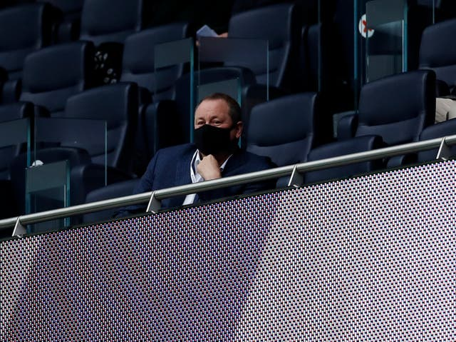 Newcastle owner Mike Ashley watches his side from the stands