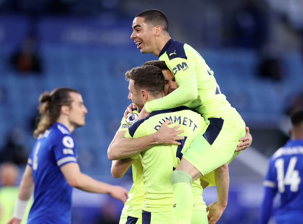 <p>Newcastle celebrate scoring against Leicester</p>
