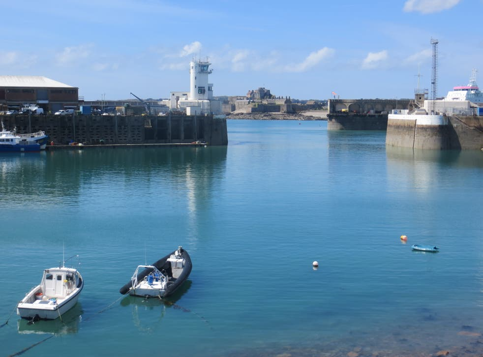 The harbour in St Helier, Jersey, is shown on 7 May, 2021, the day after a French flotilla gathered  there amid a row on fishing rights.