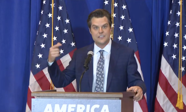 <p>Rep Matt Gaetz speaks to a crowd of retirees in The Villages, Florida, on 7 May</p>