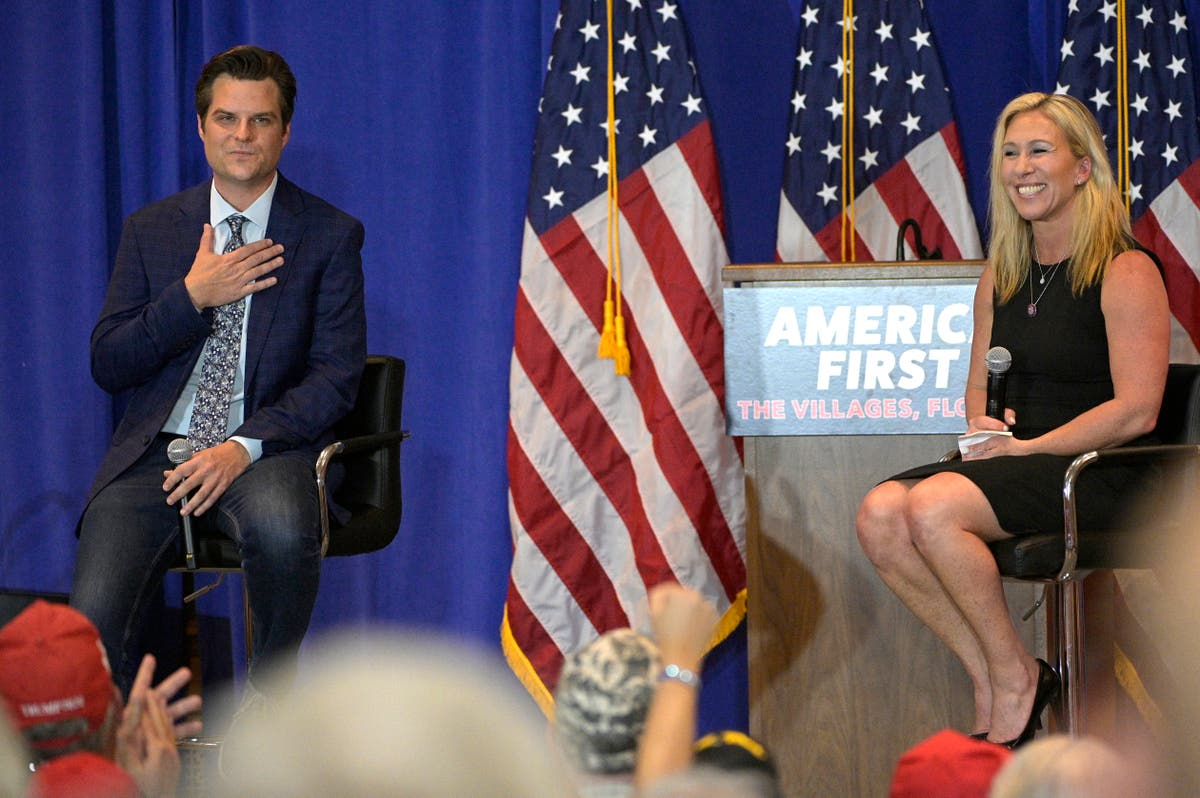 Matt Gaetz and Marjorie Taylor Greene star in strange double act aimed at pleasing Donald Trump