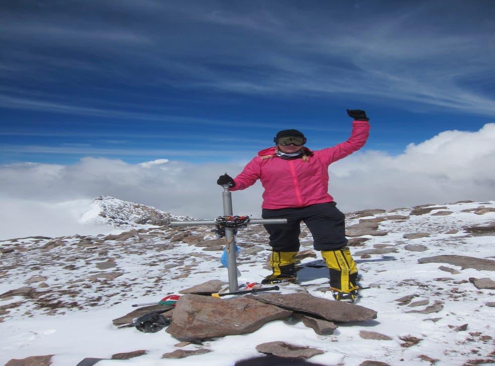 Vanessa O'Brien at the summit of Aconcagua in Argentina