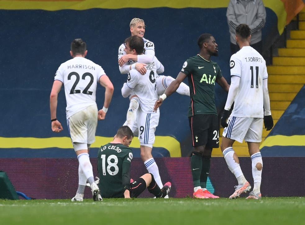 <p>Bamford celebrates Leeds' second goal</p>