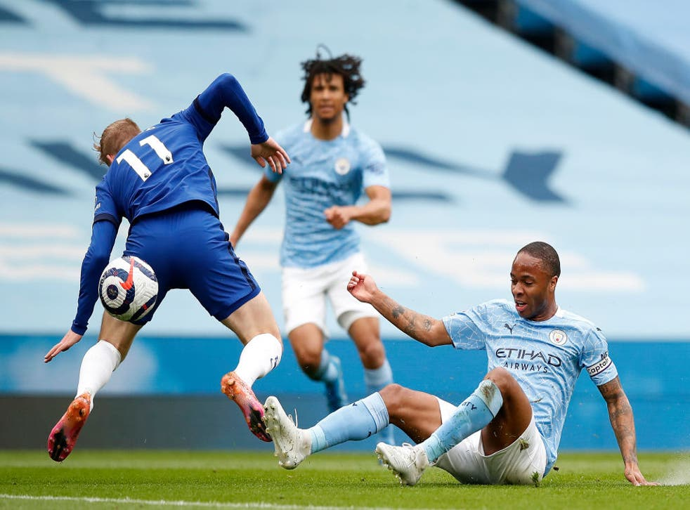 <p>Sterling fouls Werner at the Etihad</p>