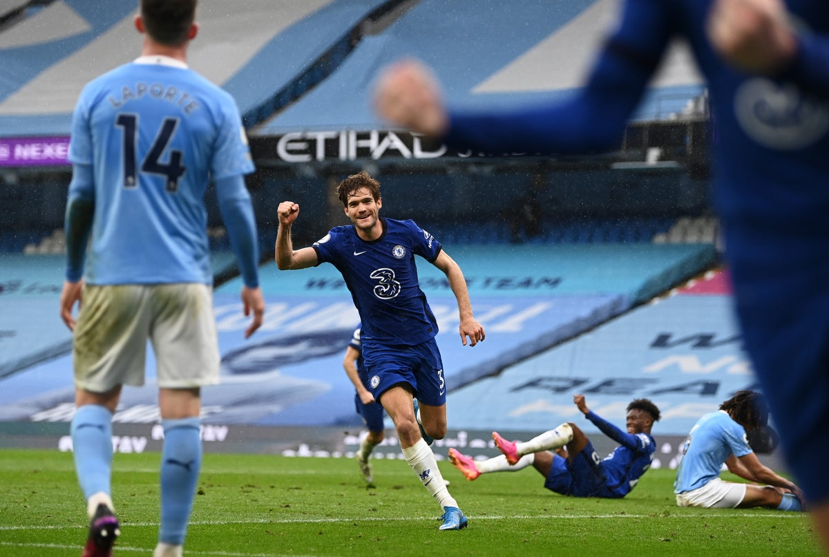 Man City Vs Chelsea Result Marcos Alonso Snatches Late Win To Extend Wait For Premier League Title The Independent