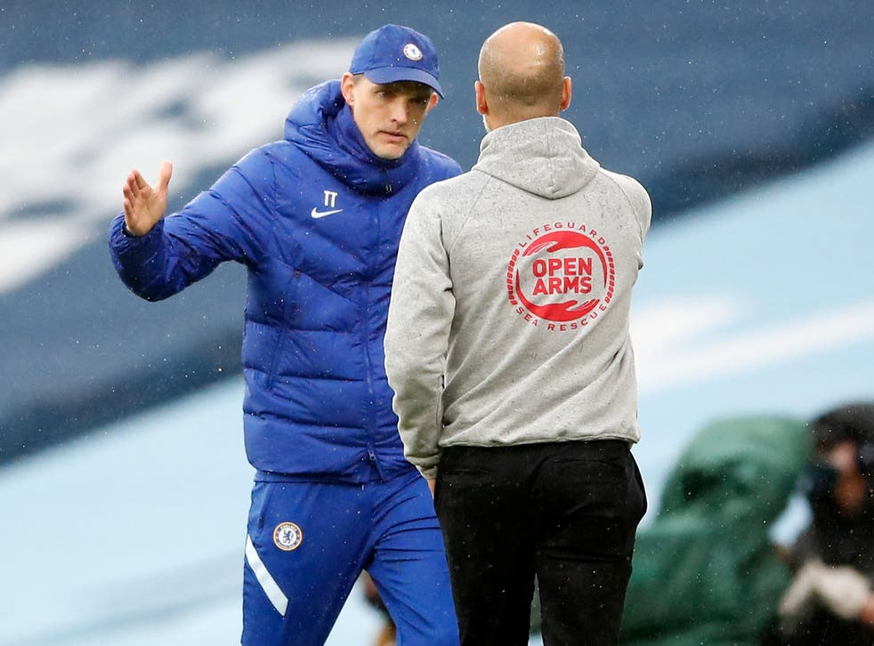 <p>Chelsea and City managers Thomas Tuchel and Pep Guardiola</p>