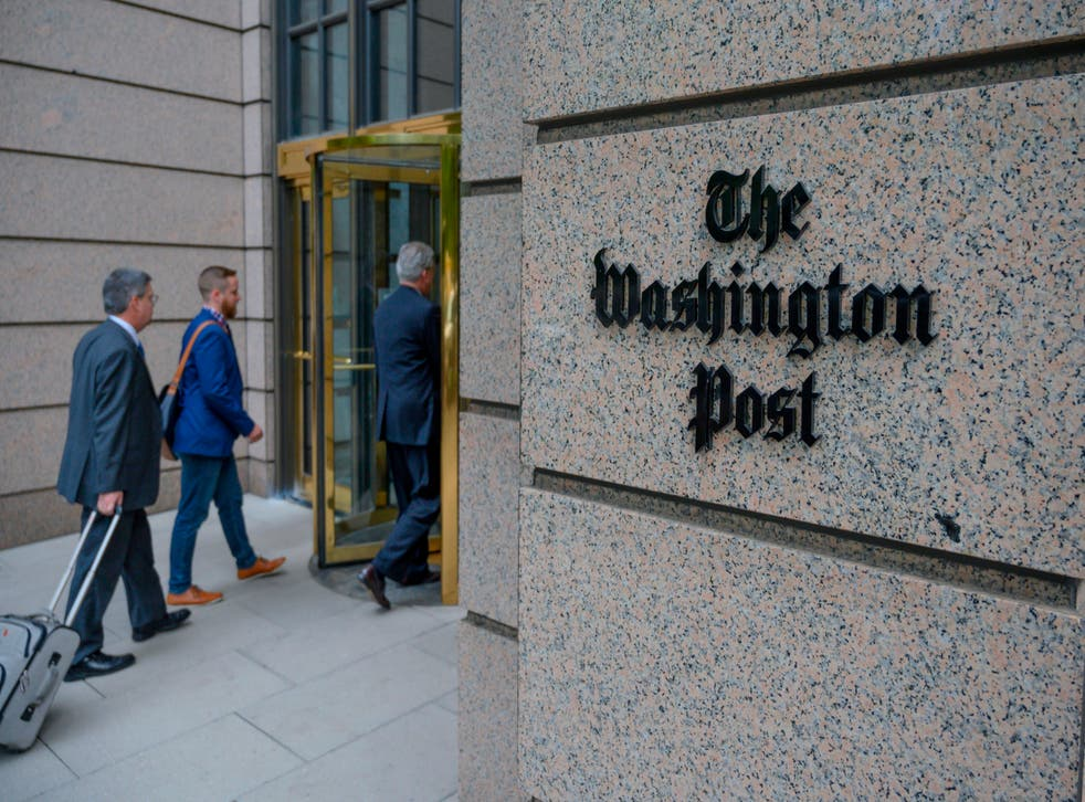 <p>The building of the Washington Post newspaper headquarter is seen on K Street in Washington DC on May 16, 2019. </p>