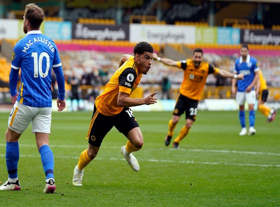 Morgan Gibbs-White celebrates after scoring Wolves' winner