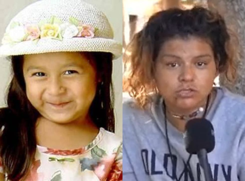 <p>Sofia Juarez (left) was abducted the day before her fifth birthday in 2003. Now police are investigating after a woman interviewed in a TikTok video (right) said she may have been kidnapped</p>