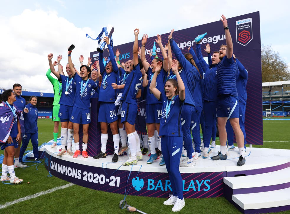 <p>Chelsea wrapped up the Women's Super League title in style with victory over Reading</p>