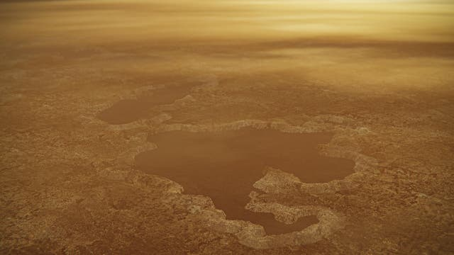 <p>On Titan, the lakes are not water but methane</p>