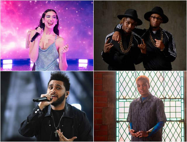 <p>Clockwise from top: Dua Lipa, Young T & Bugsey, Arlo Parks and The Weeknd </p>