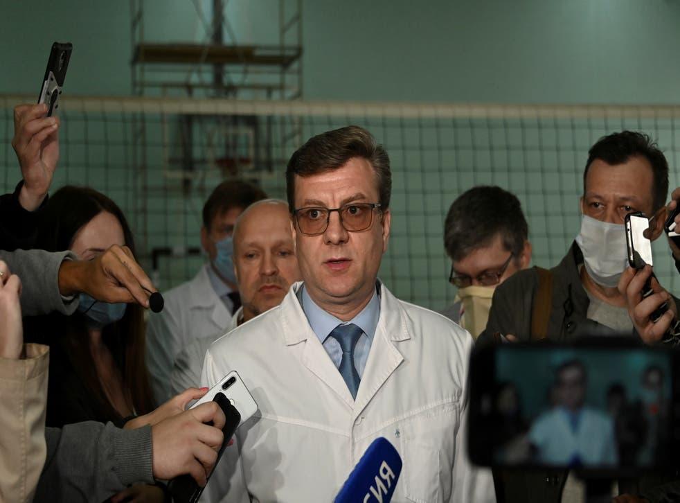 <p>Alexander Murakhovsky speaking with the media in Omsk last August</p>