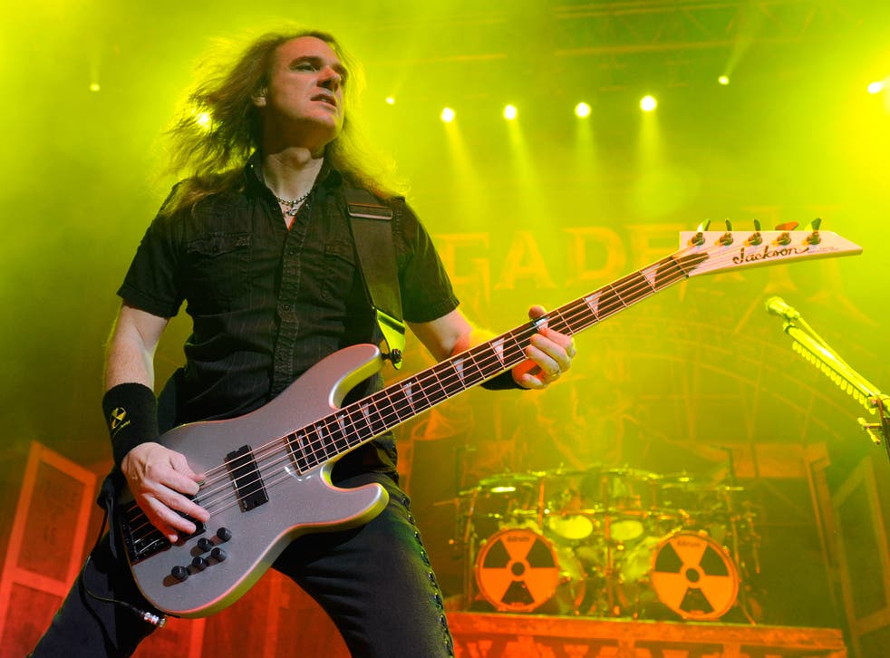 Megadeth bassist David Ellefson performs during the Jagermeister Fall Music Tour at The Pearl concert theater at the Palms Casino Resort October 20, 2010 in Las Vegas, Nevada