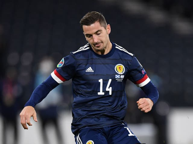 Kenny McLean in action for Scotland against Israel in October 2020