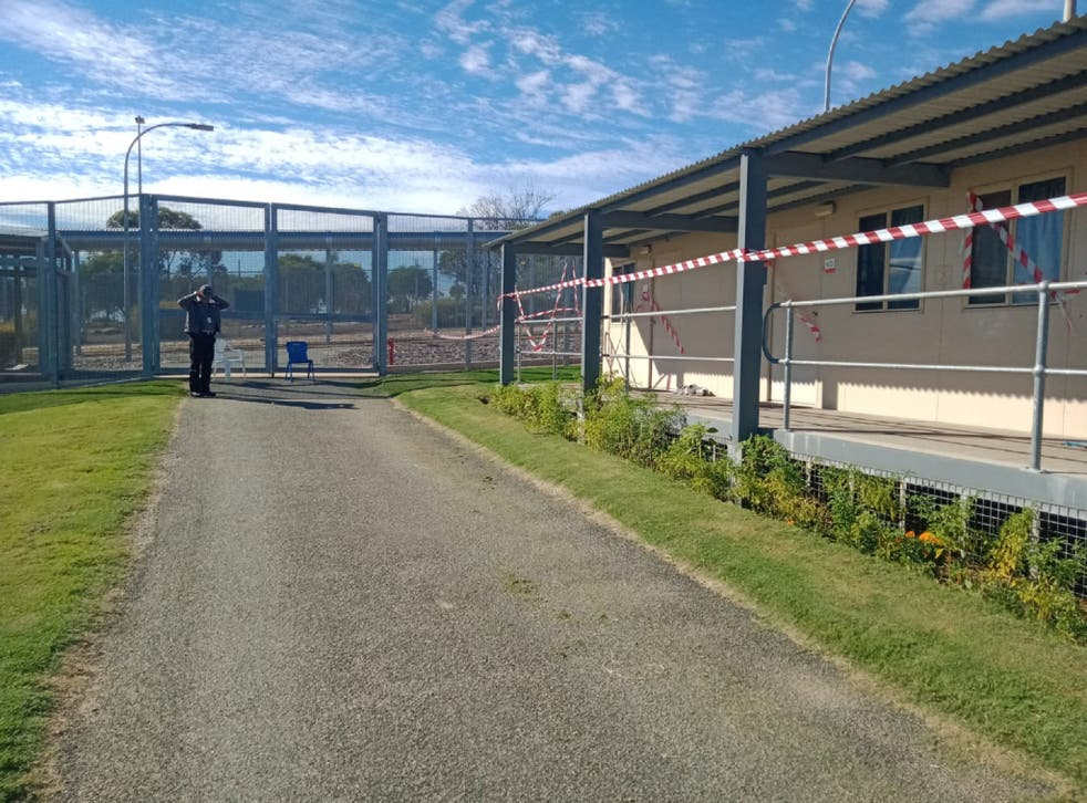 A 20-metre escape tunnel has been discovered beneath an accommodation block in the Falcon compound (pictured) at Yongah Hill immigration detention centre in Western Australia