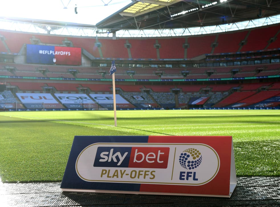 The play-off finals in the Championship, League One and League Two will take place at Wembley