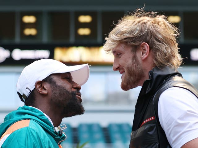 Floyd Mayweather (left) will take on YouTuber Logan Paul in an exhibition bout