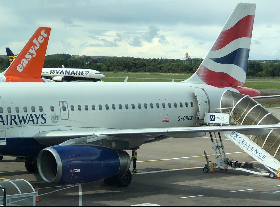 Opening up: easyJet, Ryanair and British Airways aircraft at Edinburgh airport