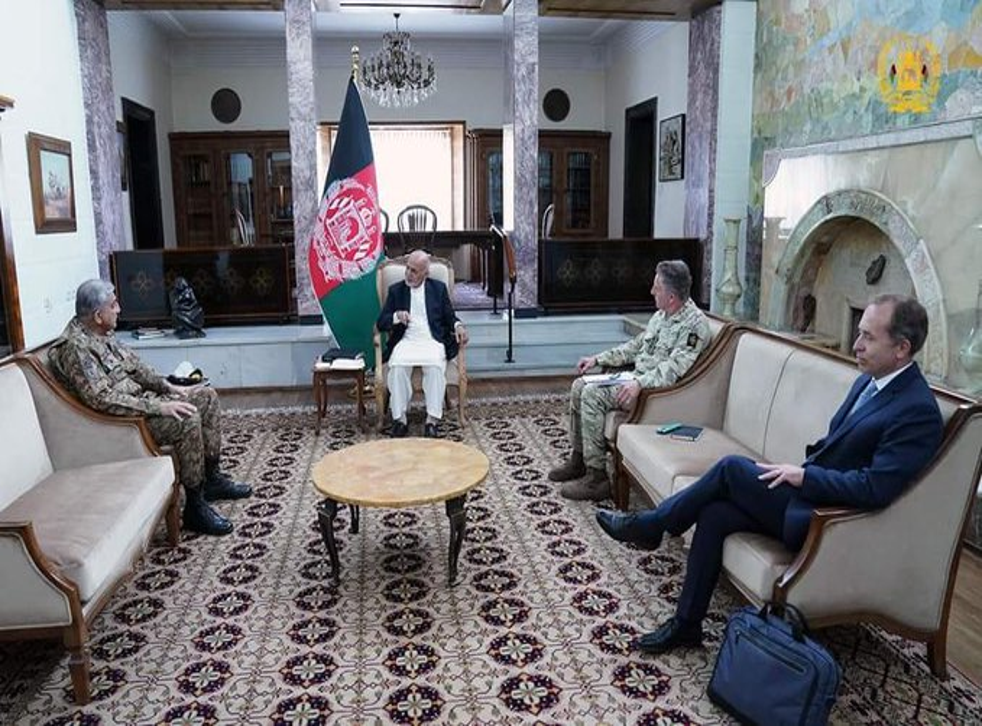<p>Ashraf Ghani, second left, and General Sir Nick Carter, second right</p>