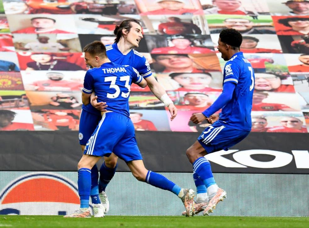 <p>Caglar Soyuncu celebrates scoring the winner</p>