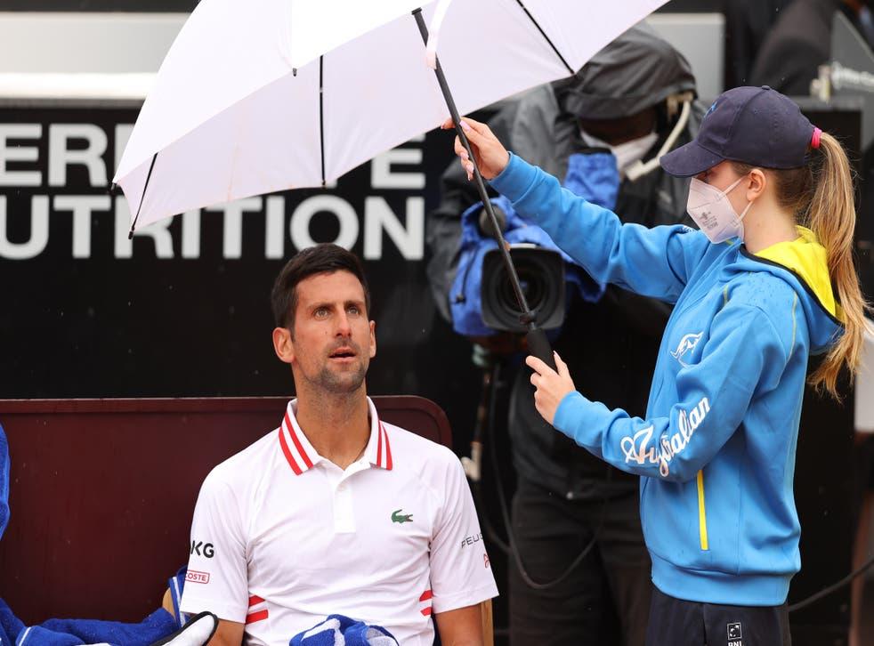 <p>Novak Djokovic eventually progressed to the last-16 after a rain delay</p>