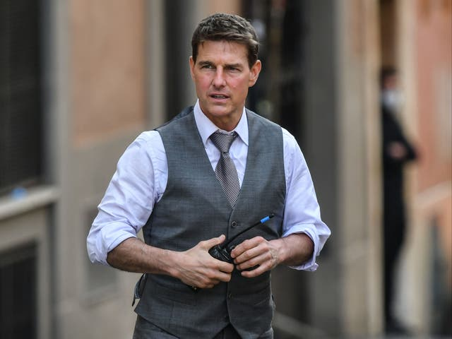 Tom Cruise during the filming of Mission: Impossible 7 on 6 October 2020 in Rome