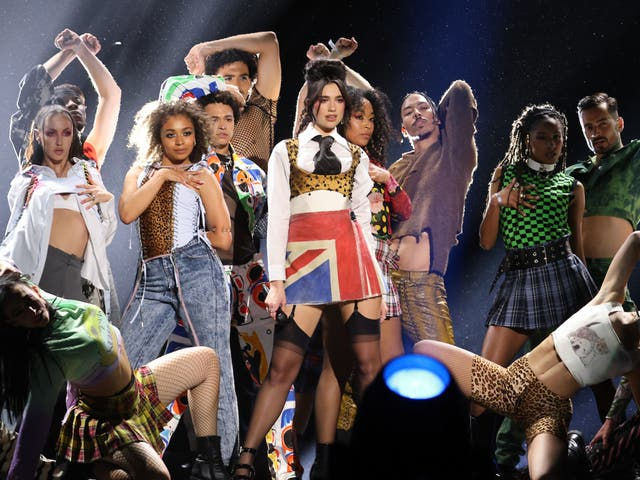 <p>Dua Lipa won over the crowd with a five-minute medley of her greatest hits</p>