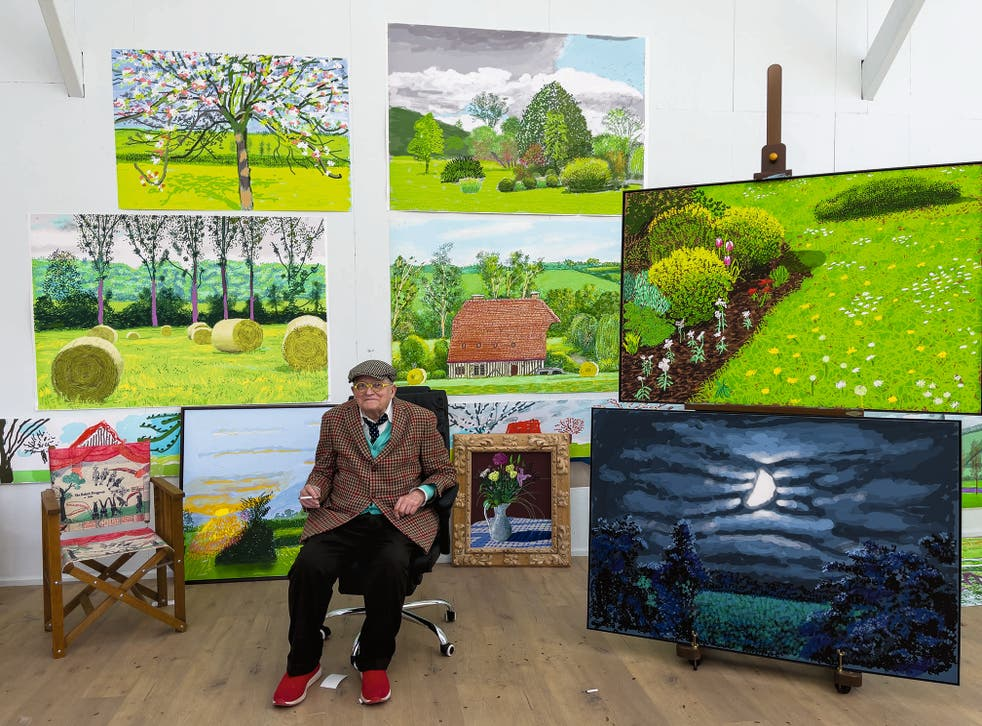 <p>David Hockney  in his Normandy studio earlier this year with his latest iPad landscapes that are going on show at the RA next week </p>