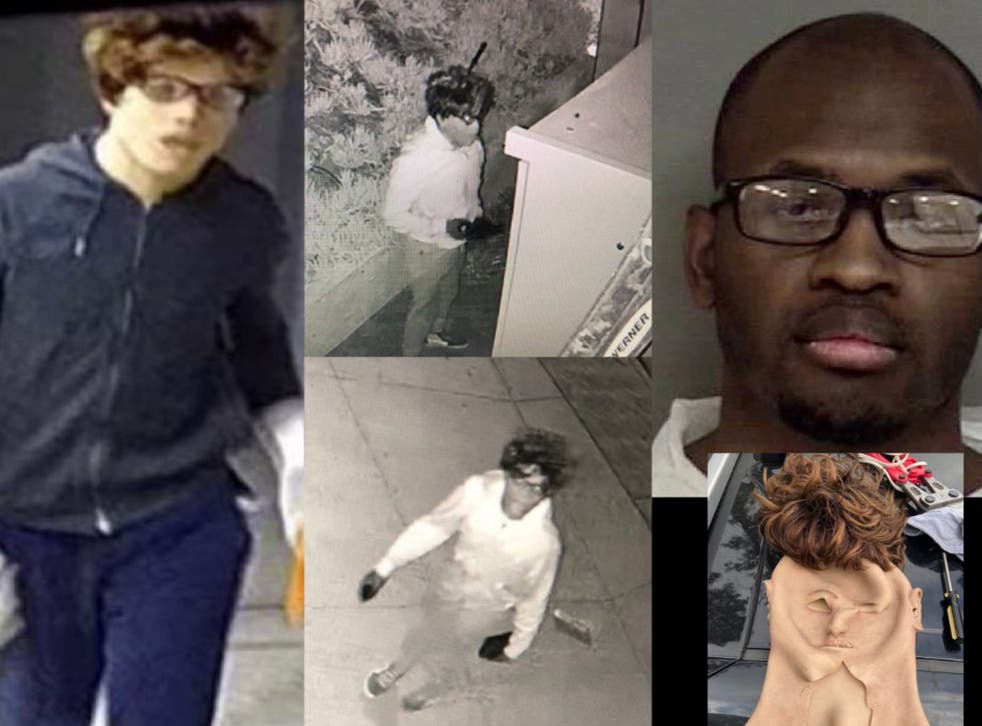 <p>Rockim Prowell (far-right), 30-years-old of Inglewood, California, has been charged with two counts of burglary and two counts of grand theft</p>