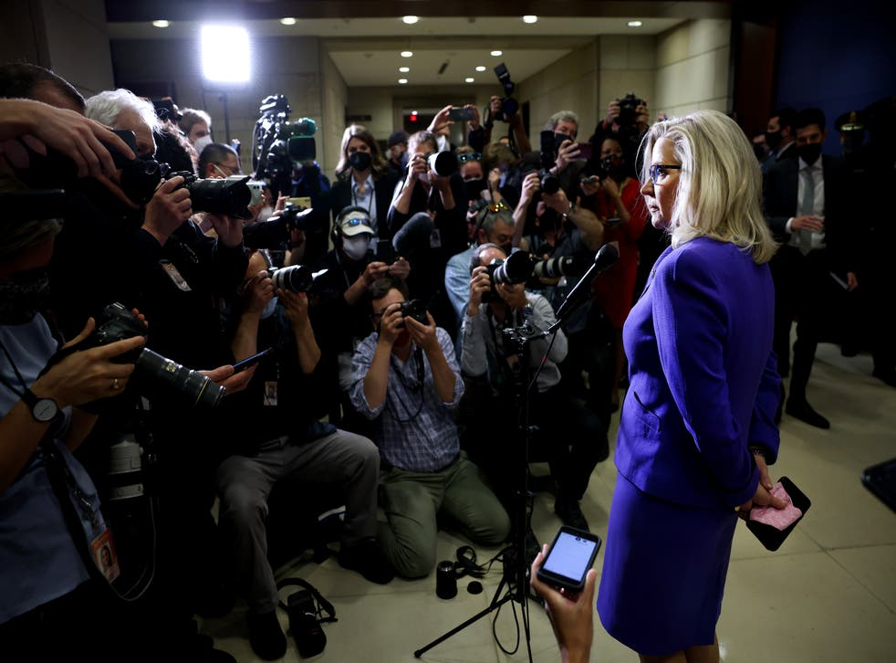 Republican Representative from Wyoming Liz Cheney speaks after being voted out of her House GOP Conference Chair position