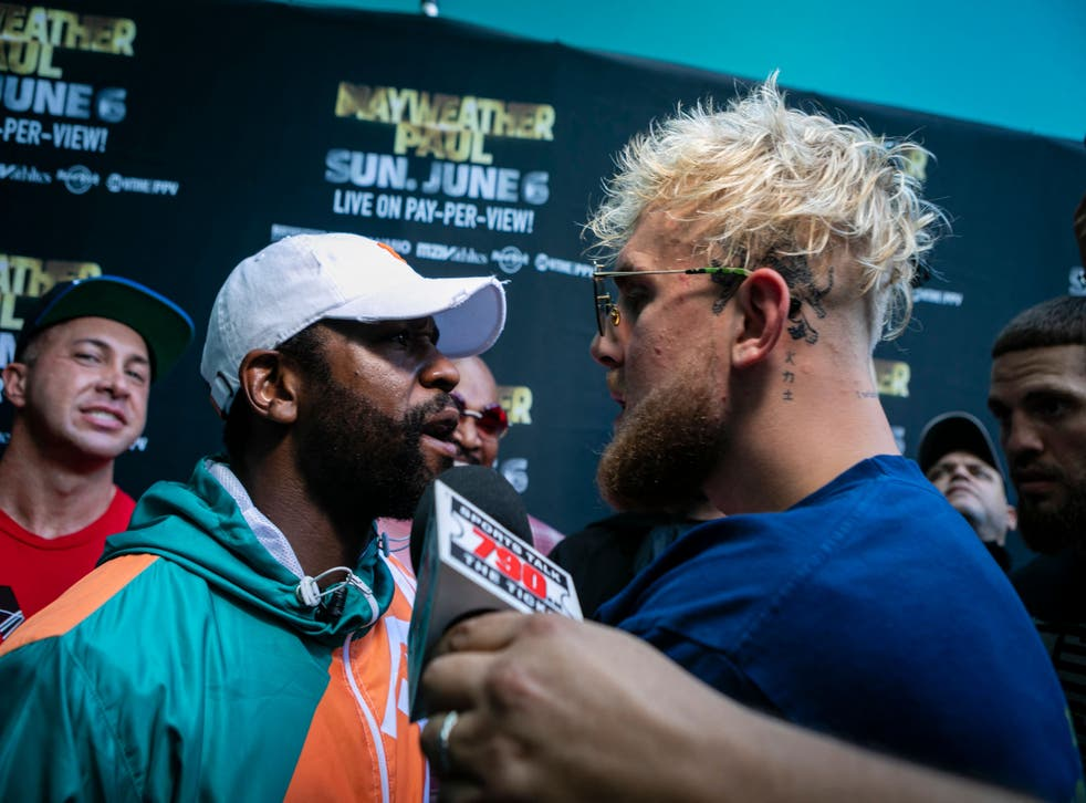 <p>Jake Paul brawled with Floyd Mayweather at a press conference ahead of his brother's upcoming fight </p>