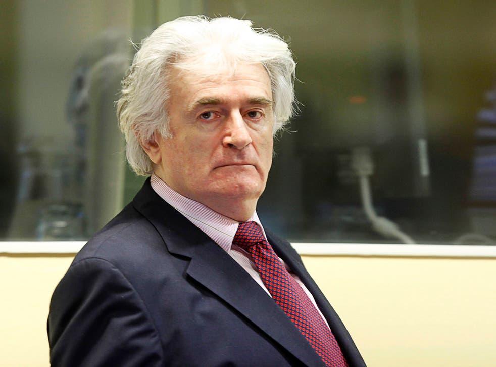 <p>Radovan Karadzic in The Hague in 2009</p>