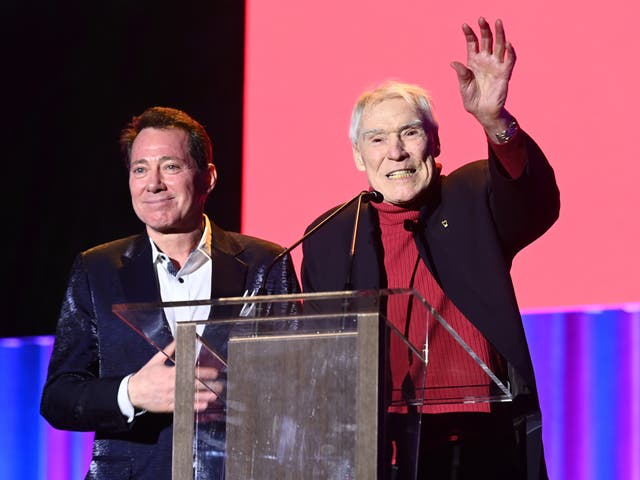 <p>D'Amboise speaks on stage at the National Dance Institute's annual gala in New York in 2019</p>